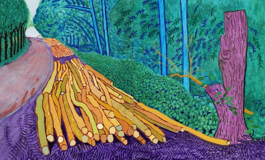 Obra de David Hockney ore Felled trees on woldgate David Hockney en exposicion Joy of Nature