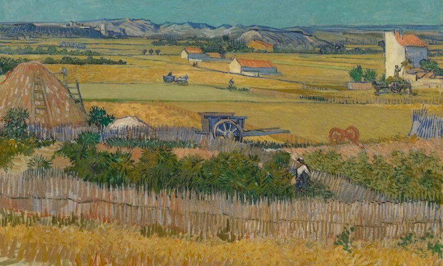Pintura The Harvest de Van Gogh en exposicion Joy of Nature