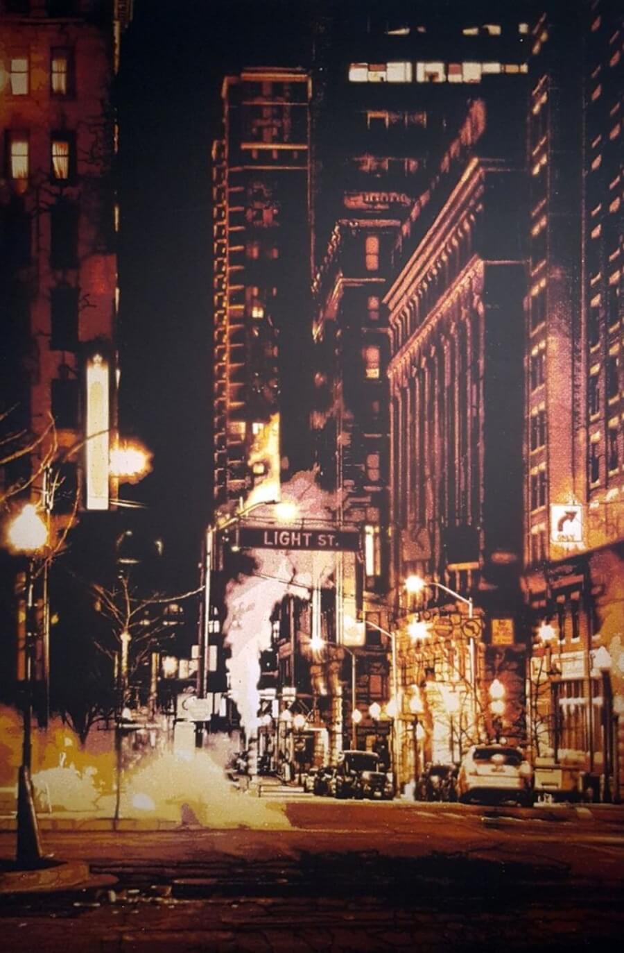"""Obra de Logan Hicks """"Night on Light"""""""