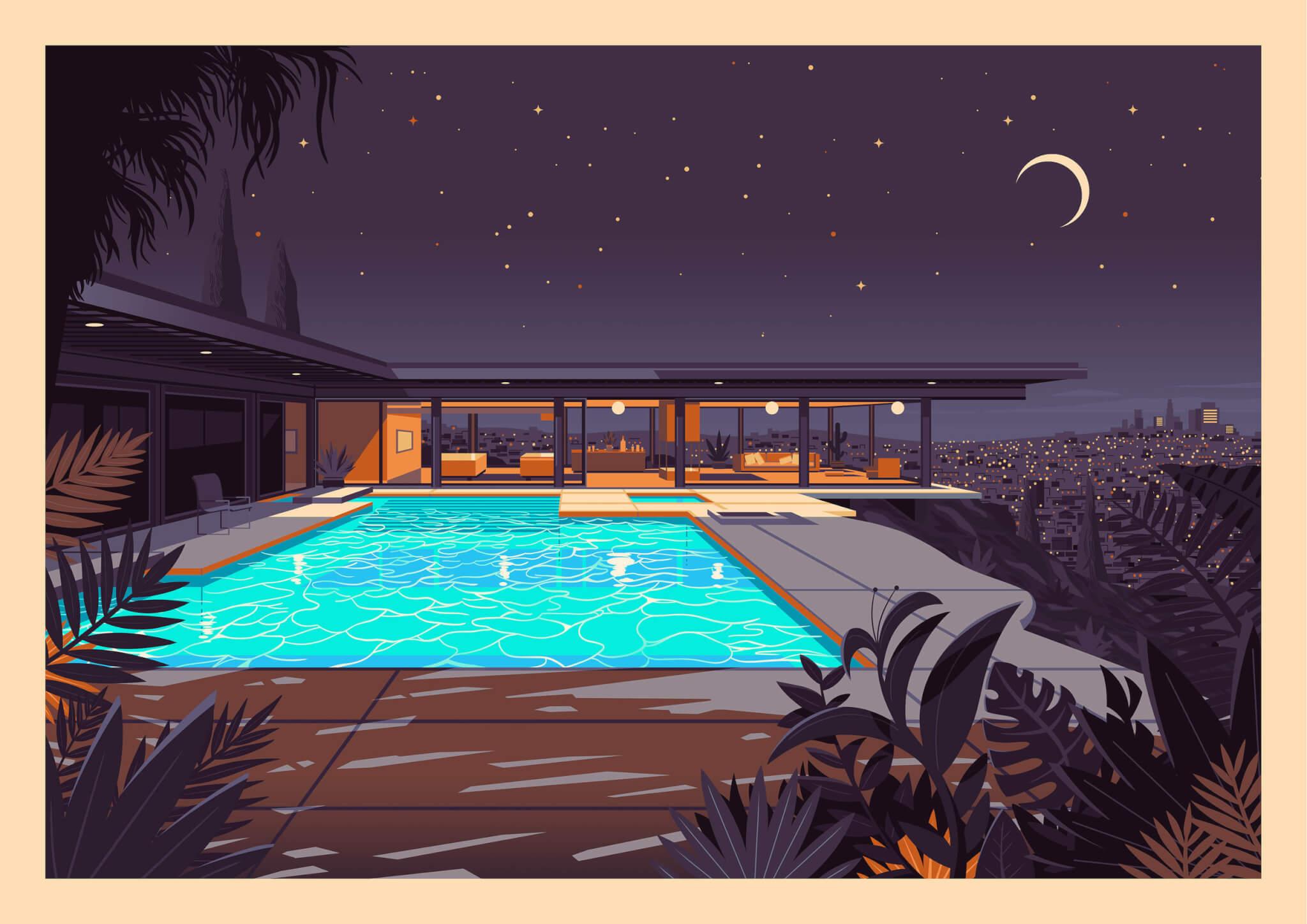 Ilustración de Los Ángeles - coloridas ilustraciones de George Townley