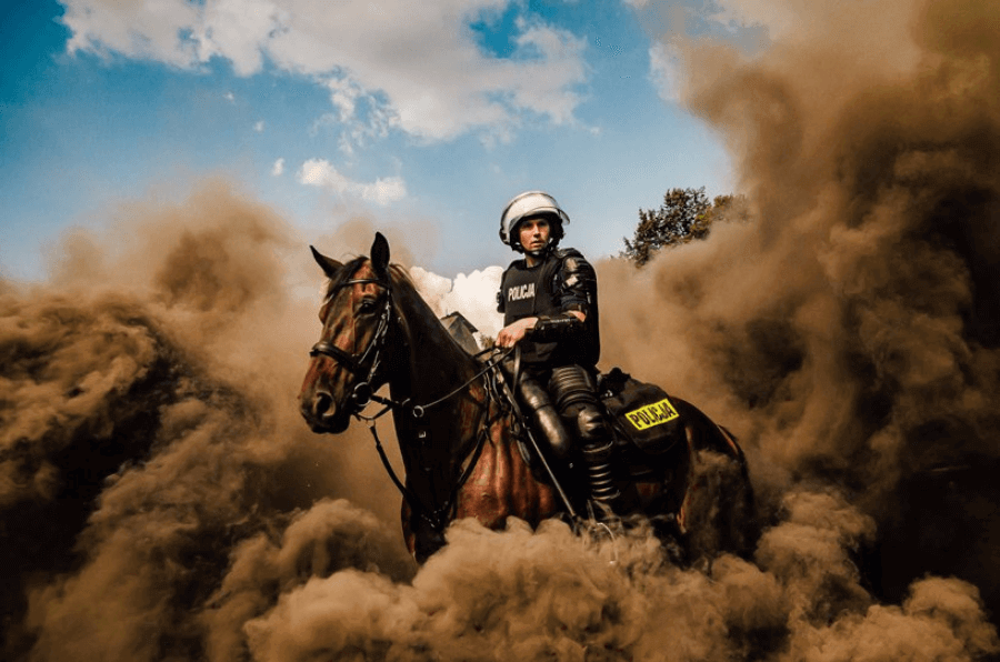 national police day by piotr cyganik, poland, shortlist, open, motion, 'photo was taken during show given by special horse unit from police forces from chorzow, poland. show was the part of polish national police day celebrations.'